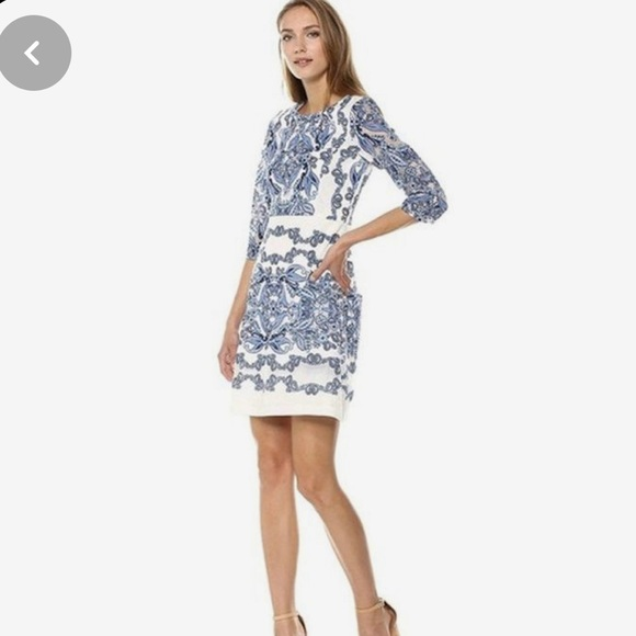 NWT- Size 4P White and Blue Lace Dress